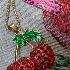 Betsey Johnson Gorgeous Cherry Crystal Necklace
